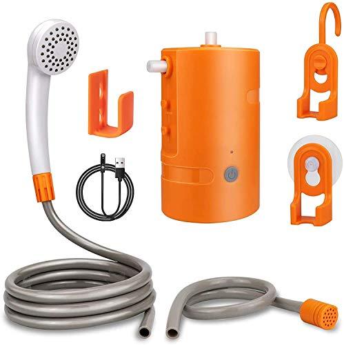 Doccia esterna portatile, doccia da campeggio ricaricabile USB, pompa doccia alimentata a batteria 4400mAh per escursionismo, zaino in spalla, viaggi, spiaggia, animali domestici, IPX7 impermeabile