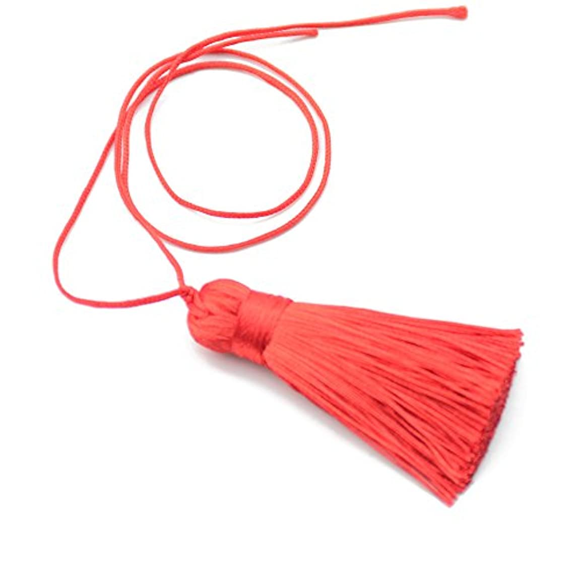 10pc 25cm/9.8 inch Cute Chunky Tassels Soft Elegant Handmade Silky Floss Tassels with 2.75 Inch Cord Loop and Chinese Knot for Woman Earrings, Jewelry Making, Souvenir (Red) waivwh751