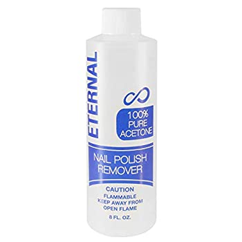 Eternal 100% Pure Acetone – Quick Professional Ultra-Powerful Nail Polish Remover for Natural Gel Acrylic Shellac Nails and Dark Colored Paints  8 FL OZ