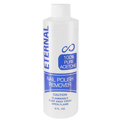 Eternal 100% Pure Acetone – Quick Professional Ultra-Powerful Nail Polish Remover for Natural, Gel, Acrylic, Shellac Nails and Dark Colored Paints (8 Ounces)