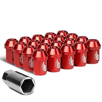 J2 Engineering LN-T7-024-125-RD 20Pcs M12 x 1.25 7075-T6 Aluminum 35mm Close-End Lug Nut w/Socket Adapter  Red