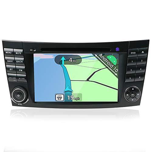 YUNTX Android 10 Autoradio Compatible con Mercedes-Benz W211 E-Class/CLS Class W219 - GPS 2 DIN - Cámara Trasera Libre & Canbus - Soporte Dab/Control del Volante / 4G / WiFi/Bluetooth/MirrorLink