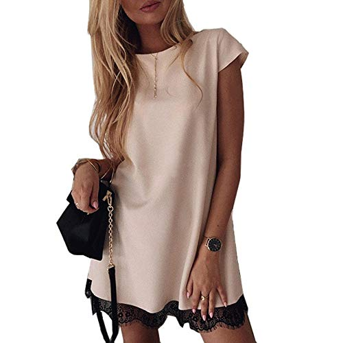 Ts Vrouwen Jurk Met Korte Mouwen Rechte Kant Mini Jurken Summer Elegant Damesmode Dress (Color : A01, Size : S)