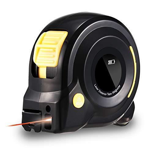 HOLULO Massband Laser Entfernungsmesser, 3 in 1 Digital Laser Entfernungsmesser mit LCD Display, 40m Maßband Laser Messgerät und 5m Massband, Pythagoras/Entfernung/Fläche/Volumen Messen