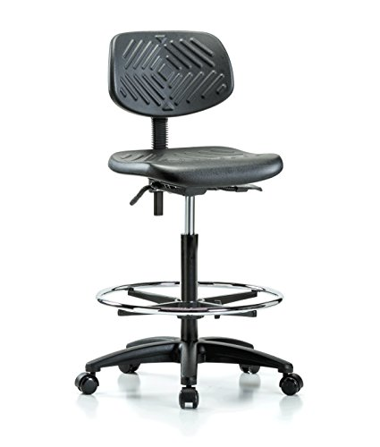 Perch Ergonomic Industrial Chair with Footring for Carpet or Linoleum, Counter Height