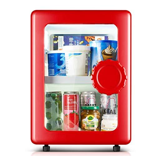 TUNBG Compact Single Deur koelkast/diepvrieskast, mini-koelkast met glazen deur, perfect voor ijs, dranken, groenten en fruit, voor kantoor en huishouden of bar, 25 blikjescapaciteit - rood