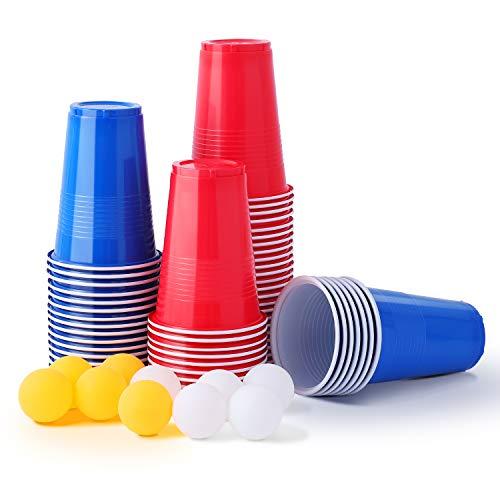 Herefun 50 Beer Pong Becher, 473ml 16OZ Partybecher Set Rot und Blau, Bier Pong Cups mit Bällen, Bierpongset, College Red Cup Trinkspiel für Bier Neues Jahr Weihnachten Camping Hochzeit (Rot und Blau)