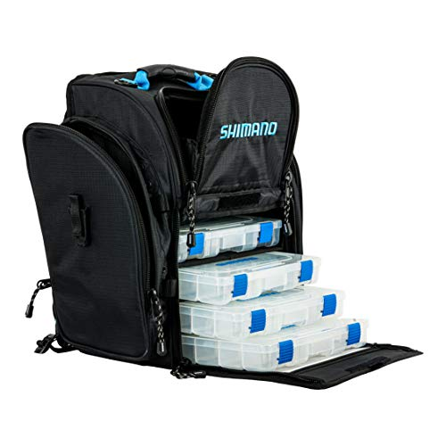 Shimano Blackmoon Backpacks Fishing Gear, Black/Blue, LG, Front Load