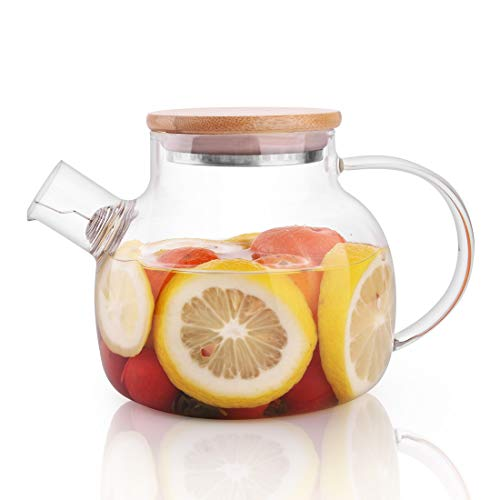 CnGlass Glass Teapot Stovetop Safe,30.4oz Clear Teapots with Removable Filter Spout,Teapot for Loose Leaf and Blooming Tea