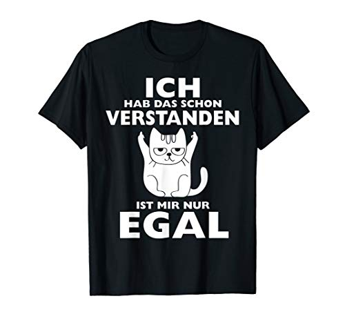 Lustiges Cat Design - Mir Doch Egal Katze Zeigt Mittelfinger T-Shirt