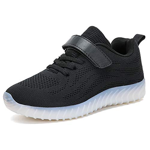 ByBetty LED Zapatos Invierno Ligero Transpirable Bajo 7 Colores USB Carga Luminosas Flash Deporte de Zapatillas con Luces Los Mejores Regalos para Niños Niñas Cumpleaños de Navidad