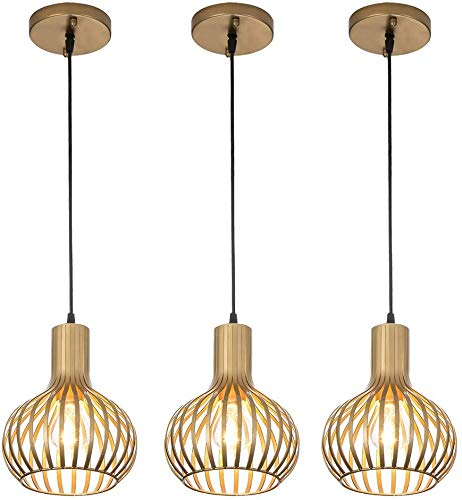 Popilion Gorgeous Brass Metal Ceiling Pendant Light,3 Adjustable Pendant Light Fixture with Brass and Smooth Surface
