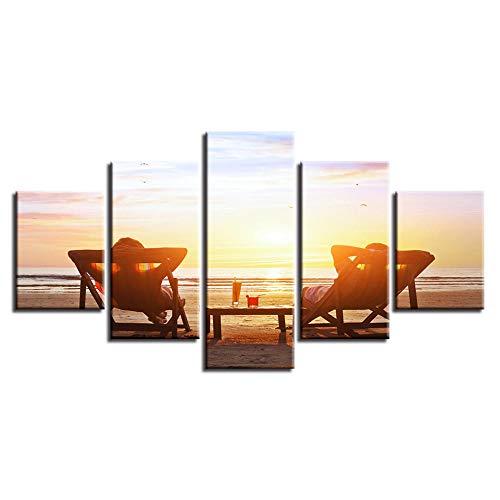 65Tdfc Dekor Wohnzimmer Wandkunst Moderne Bilder Druck 5 Stück Strandkorb Und Getränke Sonnenuntergang Seestück Poster Modulare Leinwandbilder