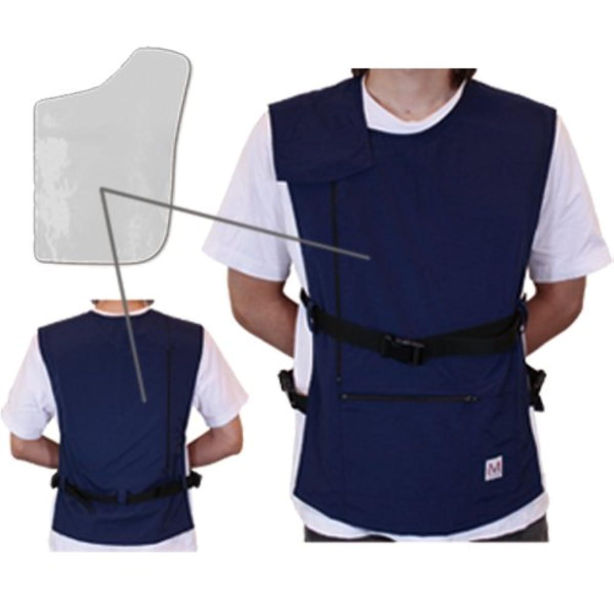 機構にやにやすみませんペースメーカ?ICD電磁波防護服「MGワークベスト左胸用(ネイビー)2年間品質保証