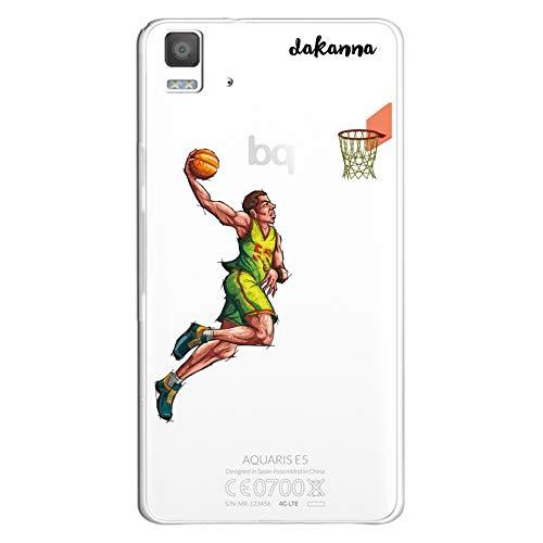 dakanna Funda para BQ Aquaris E5 4G - E5S   Jugador de Baloncesto   Carcasa de Gel Silicona Flexible   Fondo Transparente