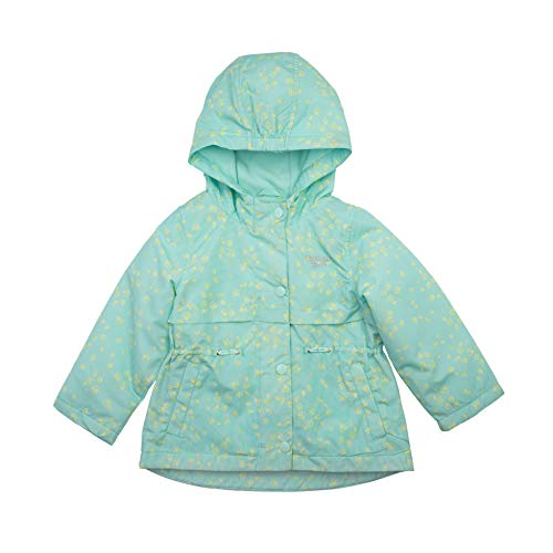 OshKosh B'Gosh Chaqueta Anorak de peso medio con capucha para niña, Aqua Floral, 5-6