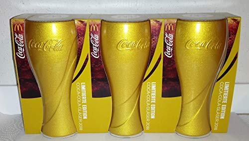 Coca-Cola Lot de 3 Verres Doré Édition Limitée 2018