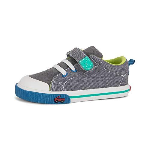 See Kai Run, Stevie II Sneakers for Kids, Gray Denim, 4