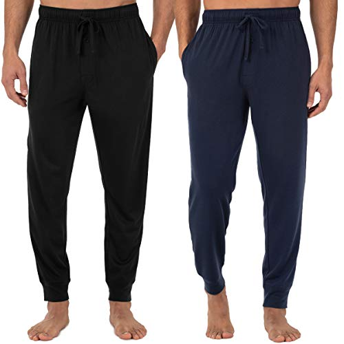 Fruit of the Loom Men's Jersey Knit Jogger Sleep Pant (1 and 2 Packs), Black/Navy, Large