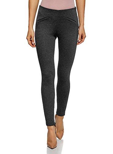 oodji Collection Mujer Pantalones Ajustados con Bolsillos Decorativos, Gris, ES 38 / S