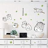 Diy lindo hámster vinilo pegatinas de pared animal encantador animal doméstico calcomanía niños habitación vivero decoración de la pared bobinadora pegatina murales...