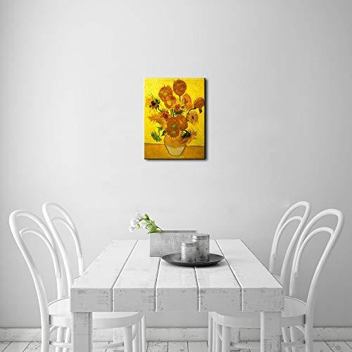 WSNDGWS Réplica Florero de Arte Abstracto Moderno con Quince Girasoles, Van Gogh Pintura al óleo Decoración para el hogar Pintura en Mural (Réplica) A1 20x30cm