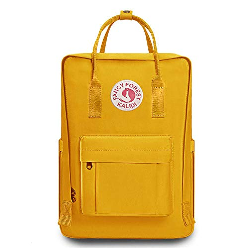 KALIDI Casual Backpack for Women,15 Inches Laptop Classic Backpack Camping Rucksack Travel Outdoor Daypack College School Bag, Yellow