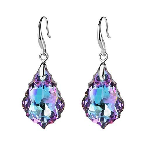 Swarovski Crystal Baroque Teardrop Dangle Hook Earrings for Women 14K Gold Plated Hypoallergenic Jewelry (Vitrail Light)