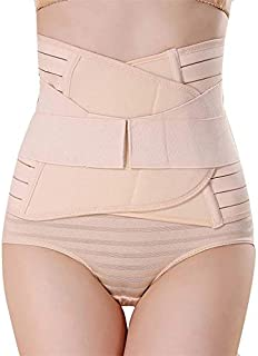 GLAMORAS Postpartum Recovery Belly Band Waist Trainer Cincher Trimmer Tummy Control Slimming Body Shaper Shapewear Belt,Beige