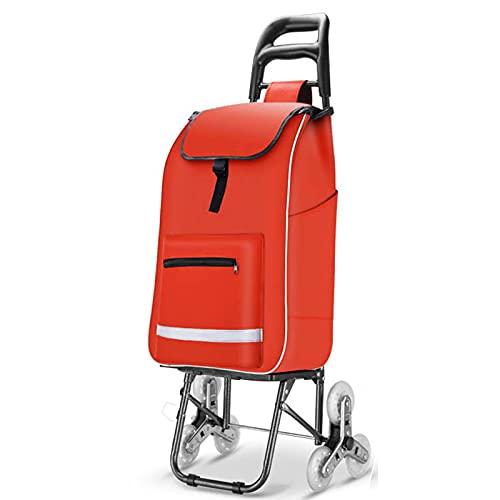 Carrello per la spesa, pieghevole, scala, impermeabile, in tessuto Oxford portatile, per viaggi, shopping, campeggio, spiaggia, rosso