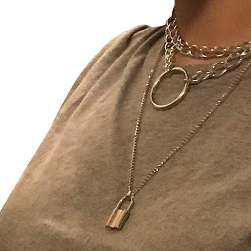YO-HAPPY Collar de Cadena de Bloqueo gótico Collar de Gargantilla Punk Multicapa Colgante de Cuero gótico