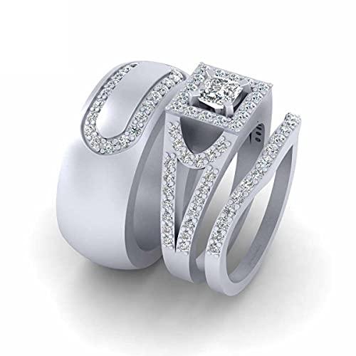 Juego de anillos de compromiso de plata de ley 925 maciza con halo de corte princesa para él y para ella