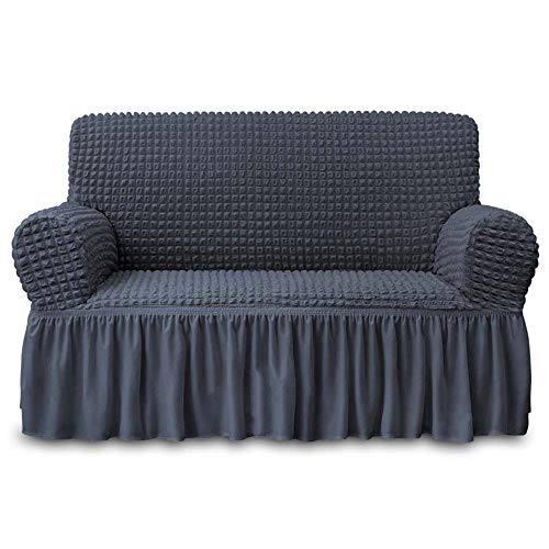 NICEEC Loveseat Slipcover Dark Grey Loveseat Cover 1 Piece Easy Fitted Sofa Couch Cover Universal High Stretch Durable Furniture Protector Love Seat with Skirt Country Style (2 Seater Dark Gray)