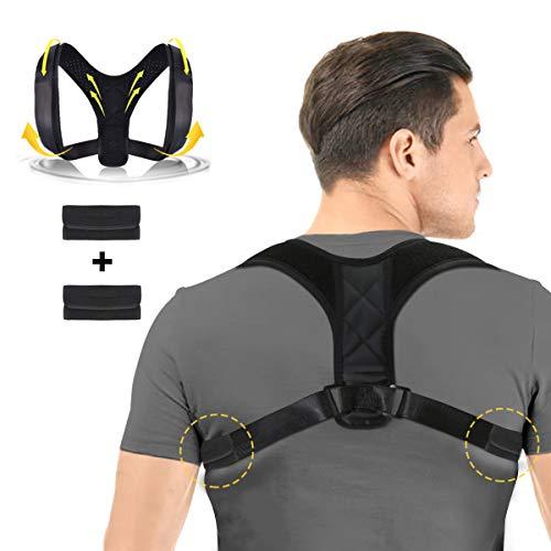 Charminer Sports Haltungskorrektur Geradehalter zur Rückentrainer Schulter Gürtel,für Damen und Herren Schwarz Verstellbar Atmungsaktiv Geradehalter Schultergurt Rückenbandage Haltungstrainer