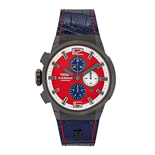 HÆMMER Mighty EG-003 - Reloj de pulsera analógico de cuarzo para mujer (48 mm de diámetro), color azul y rojo