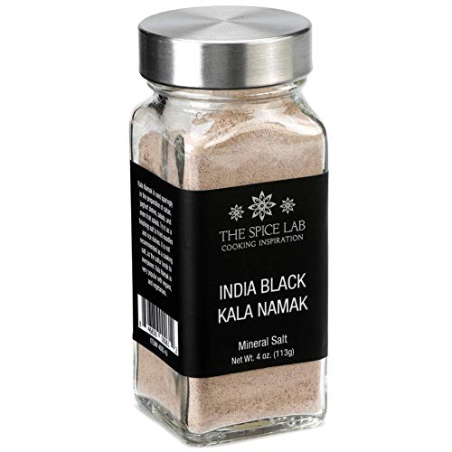 The Spice Lab Kala Namak Mineral Salt - Indian Himalayan Black Salt - French Jar - Vegan Kala Namak Salt Pure and Natural Indian Black Salt Gluten Free - Vegan Tofu Scrambles - Natural Egg Taste
