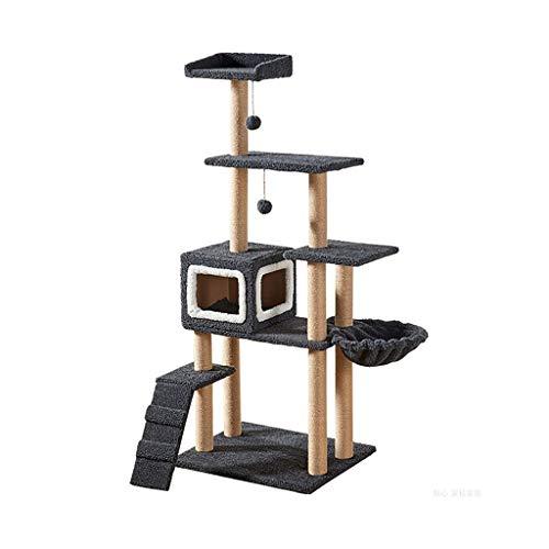 QSJY Gatti Tiragraffi a Torre Cat Struttura rampicante Palestra Torre Case e Condomini 60 × 50 × 150 Centimetri (Color : A, Size : 60×50×150cm)