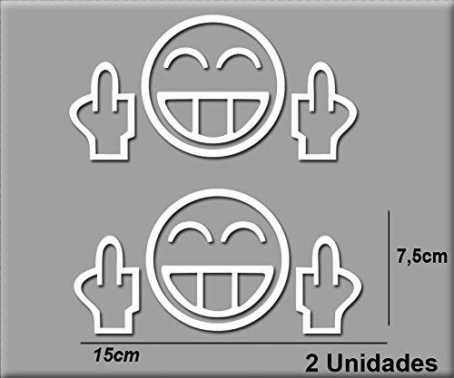 Ecoshirt RL-4I65-19KC Pegatinas Stickers Fuck Smiley Ref: R105 JDM Aufkleber Autocollants Adesivi, Blanco