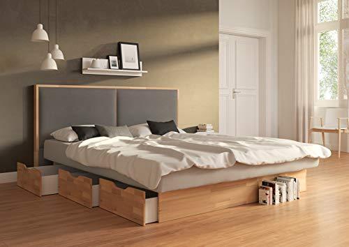 SuMa - Wasserbett doppelt 200x220 dual Schubkastenbett mit 6 Fächern Kernbuche und Kopfteil Duetto, Farbe lightgrey 200x220 cm - 11 Farben wählbar