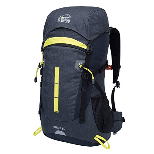 Aveler 50L Unisex Lightweight Internal Frame Backpack; High-Performance Backpack with Rain Cover for Travel, Hiking, Camping - Gray
