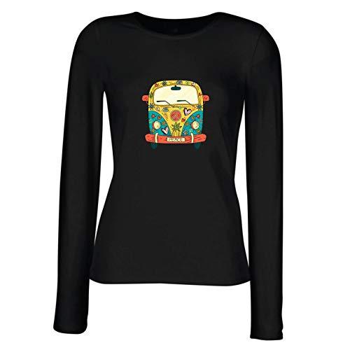 lepni.me Camisetas de Manga Larga para Mujer Años 60 70 Hip