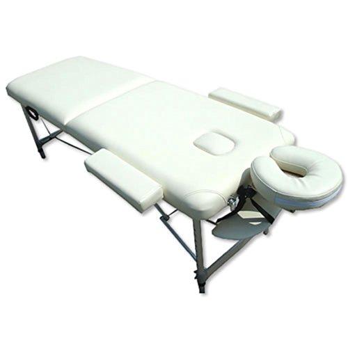 Melko Massageliege Profi Massageliege 2 Zonen aus Aluminium und Holz, klappbar und höhenverstellbar, Creme - inkl. Schutzhülle