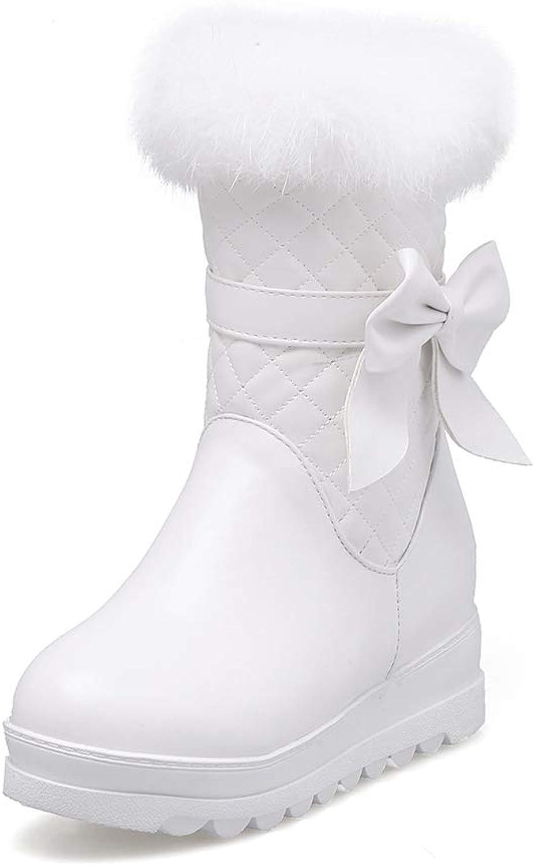 RizaBina Women Cute Butterfly Knot Boots Snow Warm Boots Winter Heigh Increasing Boots Platform Boots Side Zipper Boots