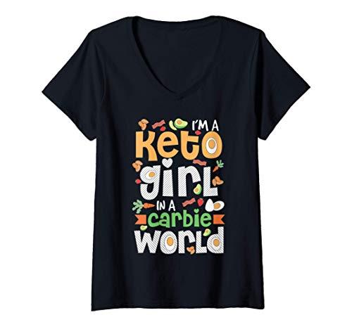 Donna Im A Keto Girl In A Carbie World Cute Ketogenic Diet Gift Maglietta con Collo a V