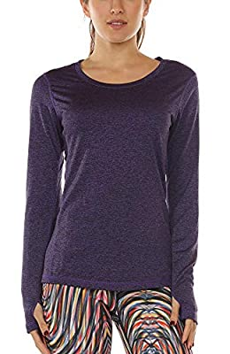 icyzone Women's Workout Yoga Long Sleeve T-Shirts with Thumb Holes (Purple, XL)