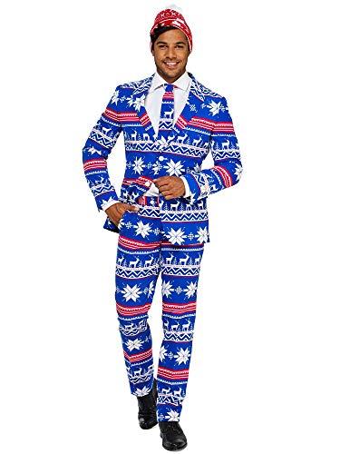 OppoSuits Weihnachtsanzüge für Herren - The Rudolph - besteht aus Sakko, Hose und Krawatte + Weihnachtsmütze Gratis - EU 46