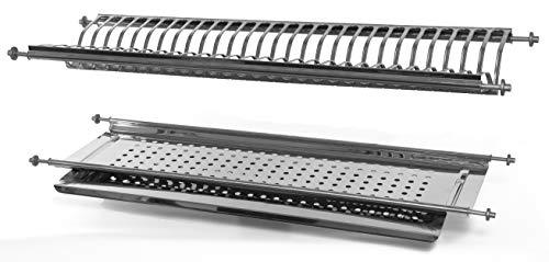 Escurreplatos con integrado con casquillo de muelles de 56ml acero inoxidable Made in Italy