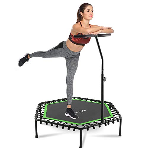 """ANCHEER Mini Trampoline Rebounder for Adults Kids Fitness, 50"""" Cardio Trampolines Trainer with Adjustable Handle Bar for Indoor/Outdoor/Garden/Yoga Workout Exercise"""