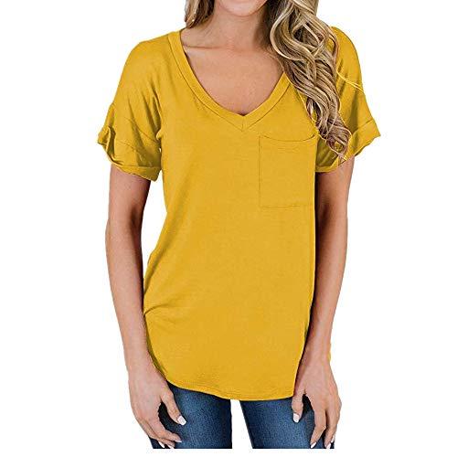 Nobrand Damen-T-Shirt mit V-Ausschnitt und Tasche, kurzärmelig, lockeres Oberteil Gr. M, gelb