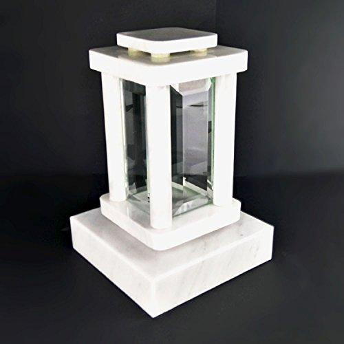 designgrab moderne Tombe Lampe avec socle en marbre de Carrare Blanc, pierre tombale Set